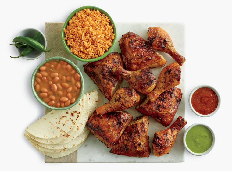 10-piece chicken meal with two sides and tortillas