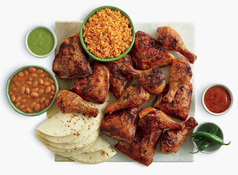 14-piece chicken meal with two sides and tortillas