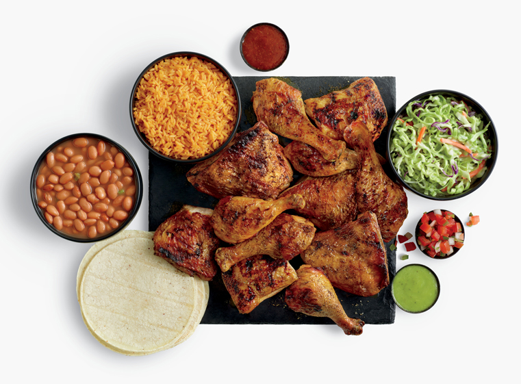 16-piece chicken meal with three sides, tortillas, and salsas