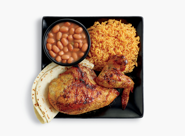 2-piece chicken meal with two sides, and tortillas