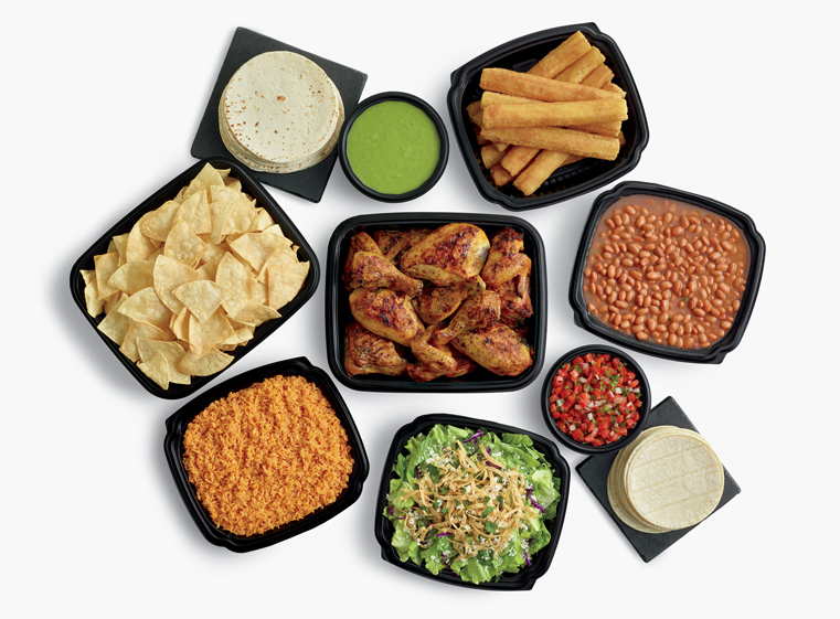 24-piece chicken meal with large sides, tortillas, churros, and salsas