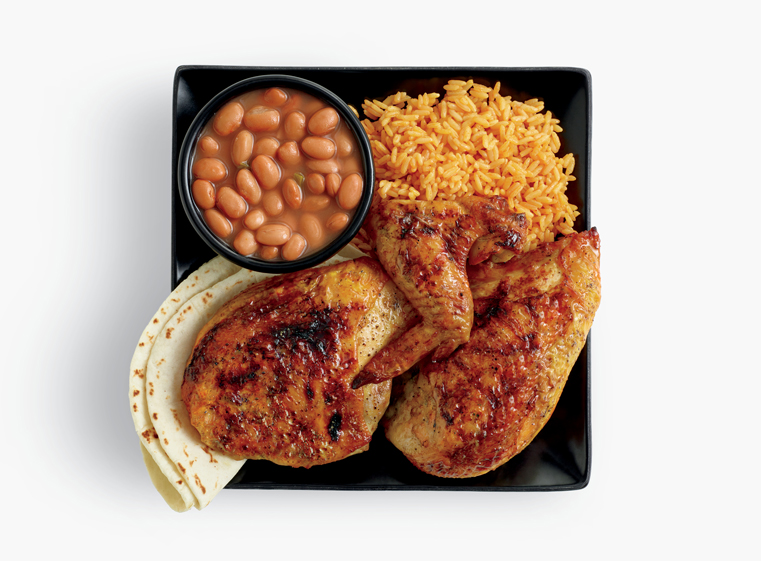 3-piece chicken meal with two sides, and tortillas