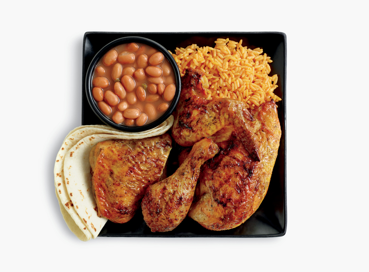 4-piece chicken meal with two sides, and tortillas