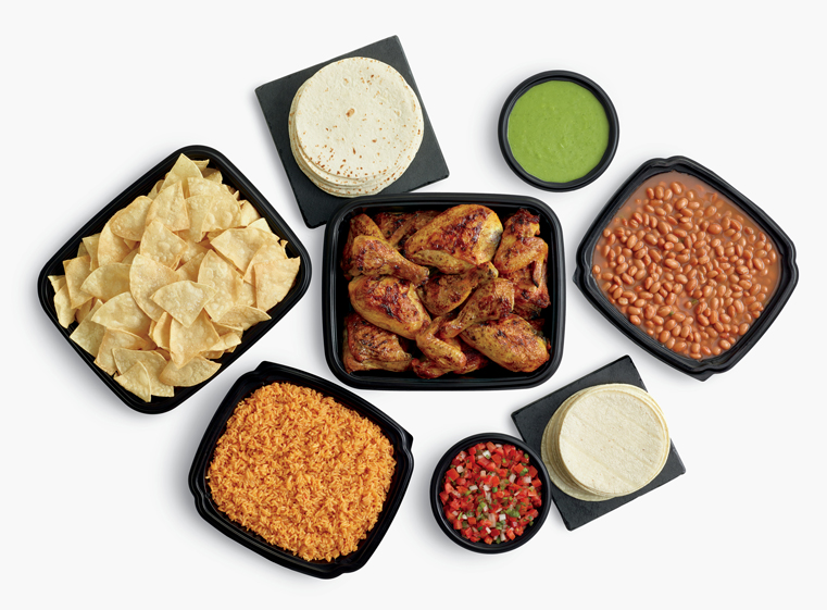 24-piece chicken meal with large sides, tortillas and salsas