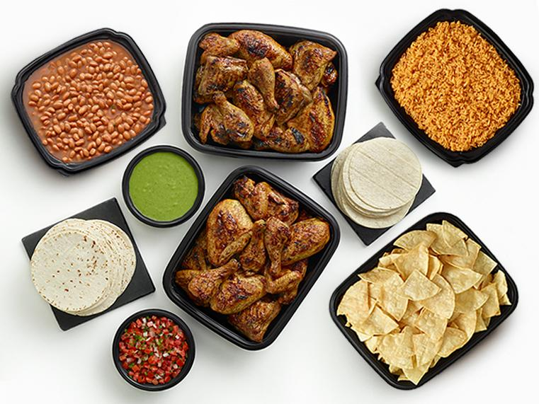 48-piece chicken meal with large sides, tortillas, and salsas