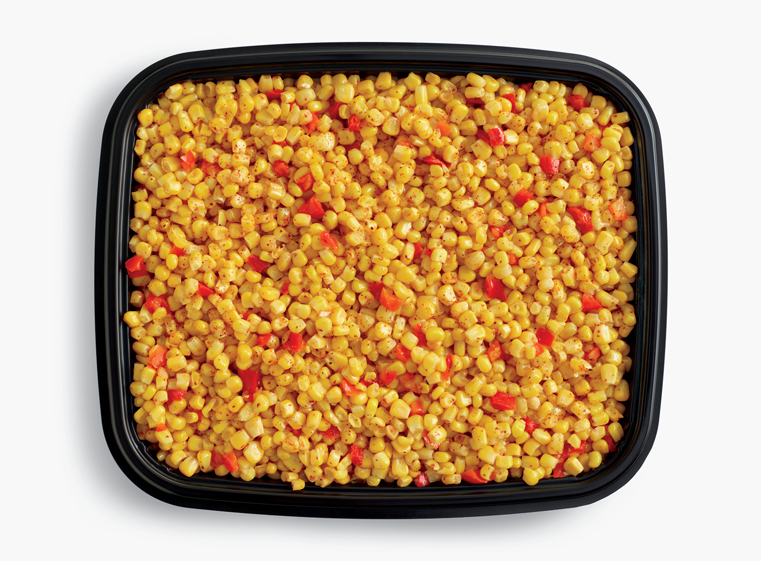 Open catering container of cut corn