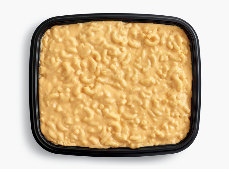 Open catering container of mac & cheese