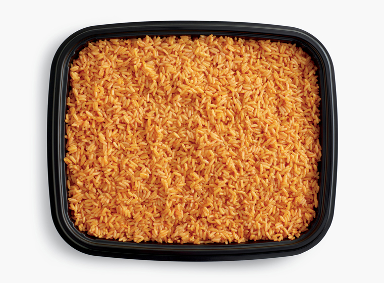 Open catering container of Spanish rice