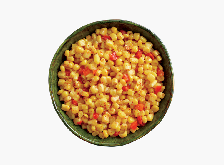 Bowl of cut corn and diced red peppers