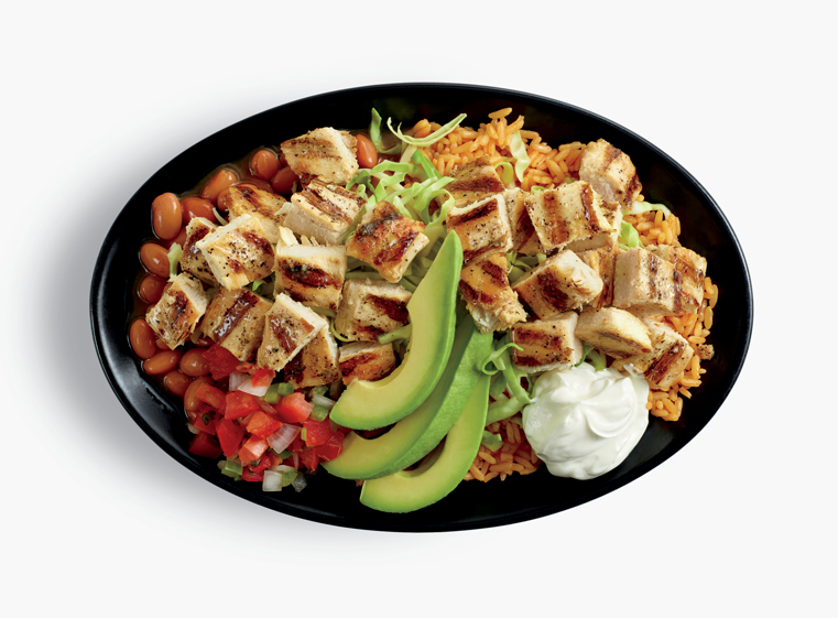 Double Chicken Bowl topped with avocado