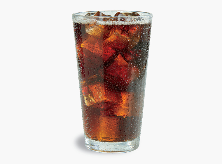 Glass of Dr. Pepper on ice