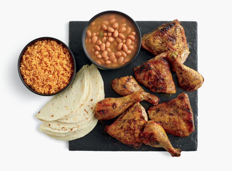 8-piece chicken meal with two sides and tortillas