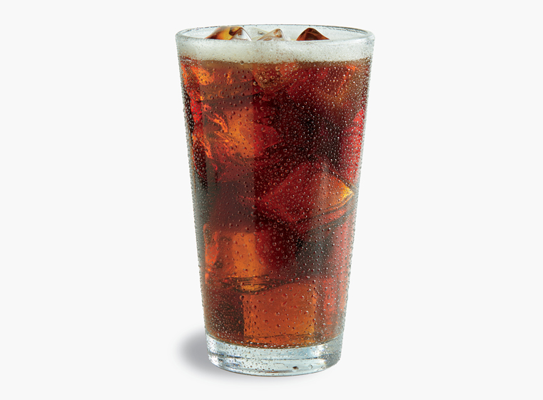 Glass of Barq's Root Beer on ice
