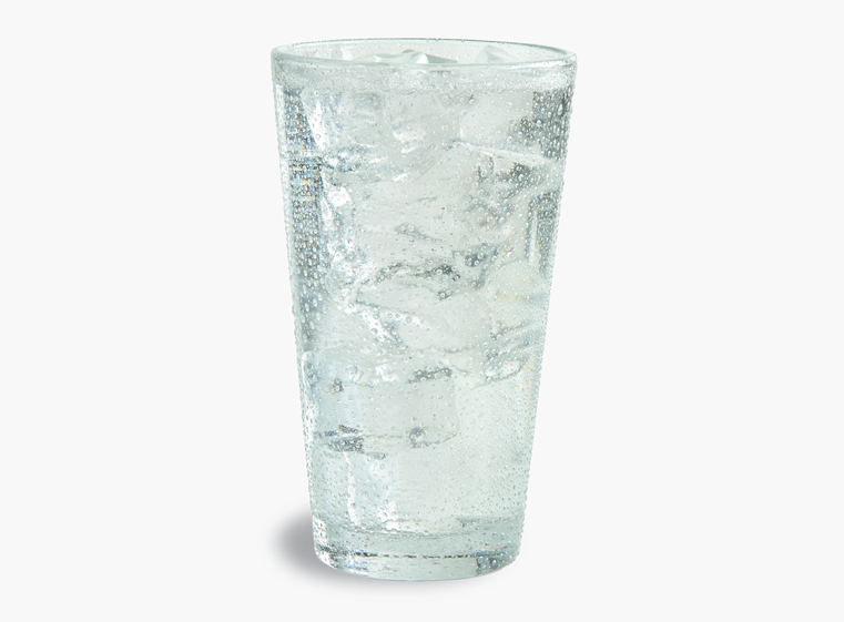Glass of Sprite on ice