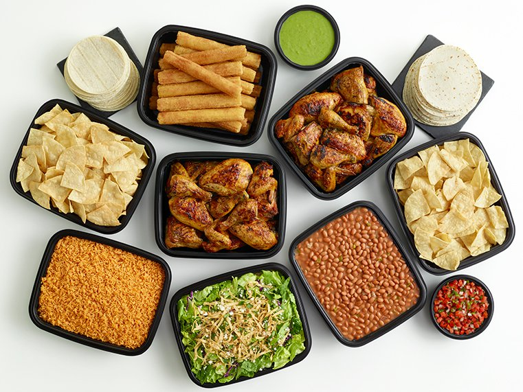 48-piece chicken meal with large sides, tortillas, churros, and salsas