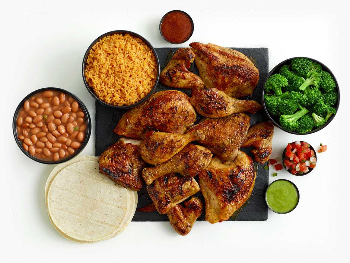 12-piece chicken meal with three sides, tortillas, and salsas