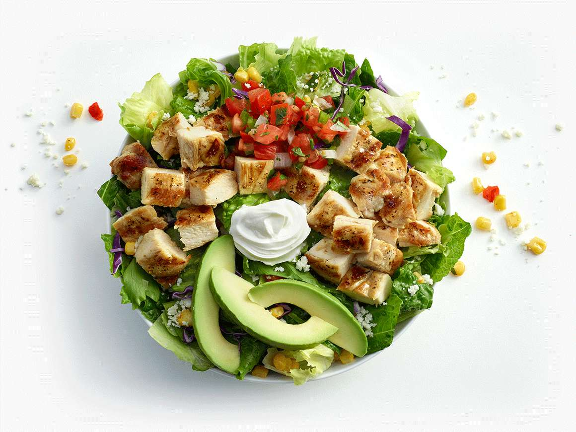 Double Chicken Avocado Salad in small bowl