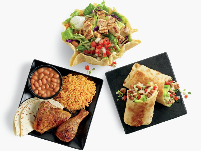 Tostada Salad, burrito, and 2-piece chicken meal